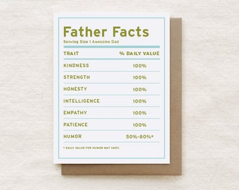 Funny Father's Day Card, Dad Birthday Card - Father Facts