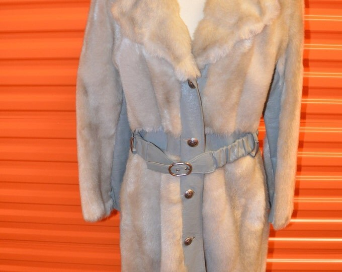 Vintage Estate Full Length Grey Leather Panel Royal Minky by Hillmoor Coat