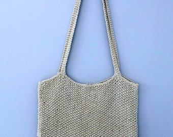 Hand knitted cotton bag