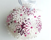 Pink snowflake ball, Christmas decoration, Christmas tree decoration, festive decoration, holiday decoration, Christmas bauble