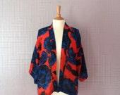 Kimono blue and orange 3/4 sleeve floral blue and orange jacket