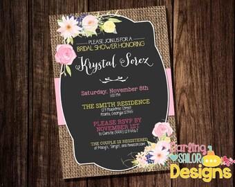 Rustic Bridal Shower Invitation,, Print or Digital File, Burlap Bridal Shower, Vintage, Rustic Wedding