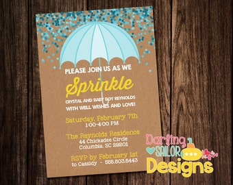 Baby Sprinkle Invitation, Girl, Boy, Baby Shower Sprinkle, Print on your own, Print Options Available, (Digital File) 5x7