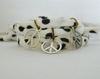 Adjustable 2 Piece Peace Sign White Cloth Cord Bracelet Set
