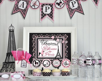Paris Party Package, Paris Decorations, Paris DIY Party Package