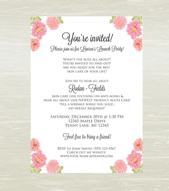 Rodan And Fields Party Invite Best Printable Invitation Design