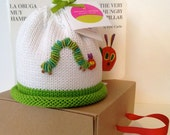 Colorful Crowns Green Hungry Caterpillar Knitted Newborn Baby Hat, Embroidered Caterpillar, Hand-Knit, Cotton, Best Baby Gift