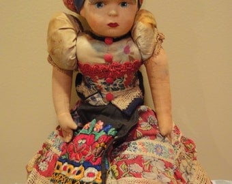 Antique Handmade Hungarian-Mezokoveszd Doll/Sewing/Textile/Handmade/1900's