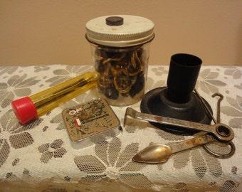 Vintage Industrial Tools/Nuts and Bolts/Tape Measure/Screwdriver/Vintage Spoon/Sabre Tool