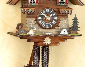 Original mechan Schwarzwald-cuckoo clock. 1 day cuckoo clock Germany Black Forest cuckoo call chain hoist