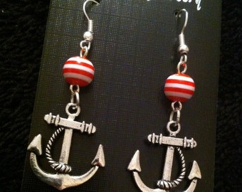 80p UK P&P Handmade anchor earrings dangle red and white stripe beads Lead and nickel free nautical sailor jerry hipster indi seaside charm