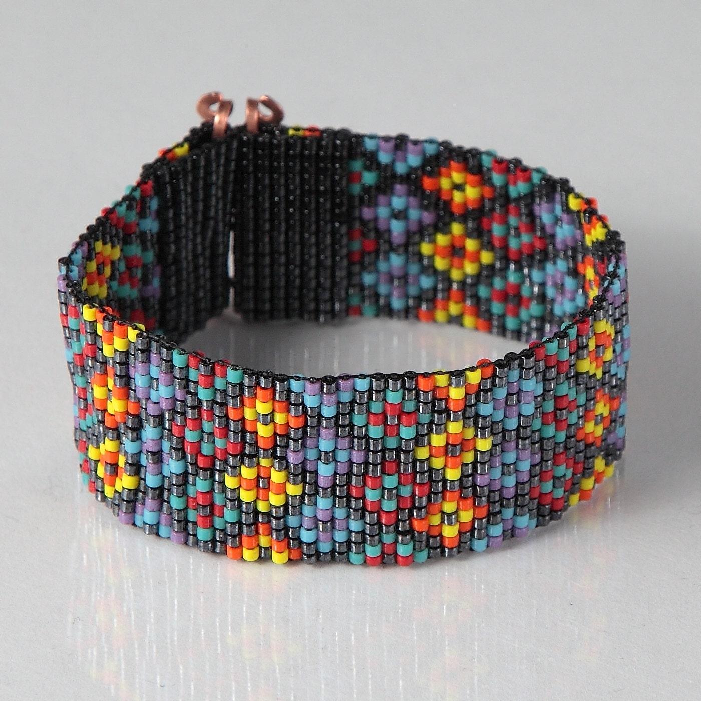 stained glass bead loom bracelet artisanal jewelry