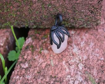 Polymer Clay Pendant with Rose Quartz