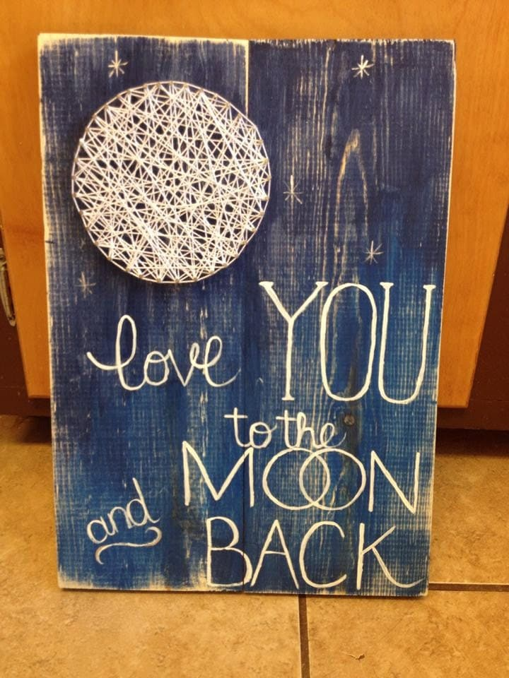 string art moon i love you to the moon and back nursery wall,