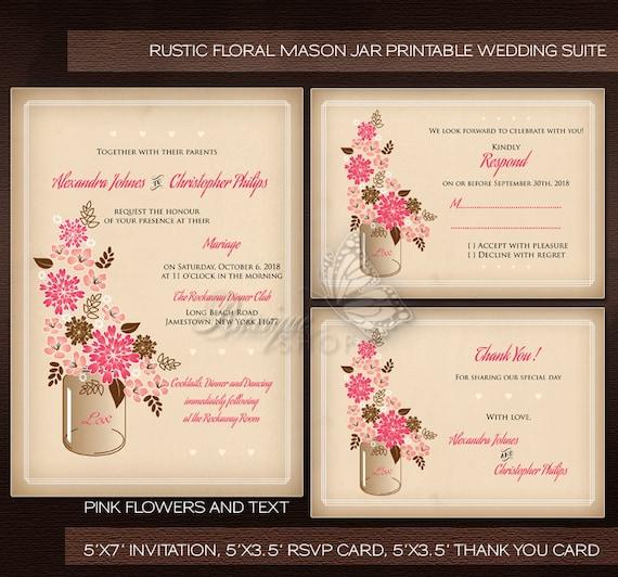 Rustic Mason Jar Floral Wedding Invitations Burgundy: Mason Jar Wedding Invitation Rustic Floral Mason Jar Country