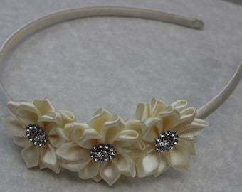 Ivory headband, cream flower girl headband, ivory wedding headband, satin headband, ivory hair accessory,  ivory girls headband