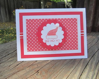Christmas Card, Red and White Santa Hat