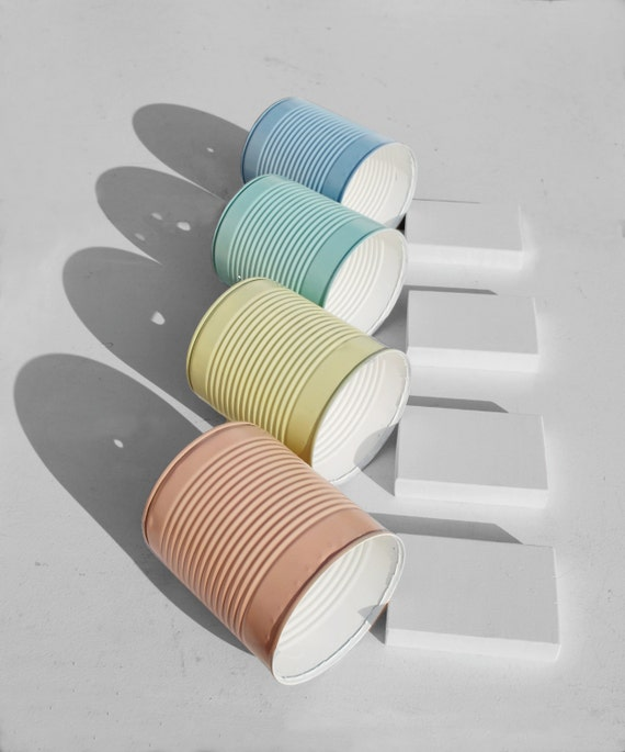Patel lamps ! Nightstand / desk lamp / pastel colors...eco friendly: recycled from tomato can! UK or EURO or US or Australia plug