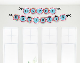 Holly Jolly Penguin Holiday Garland Banner - Custom Winter Party Decorations