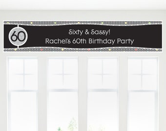 Adult 60th Birthday Party Banner - Birthday Party Decorations