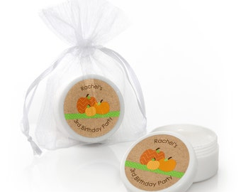 Pumpkin Patch Lip Balm Party Favors - Fall or Halloween Baby Shower and Birthday Party Celebration Supplies - 12 Count
