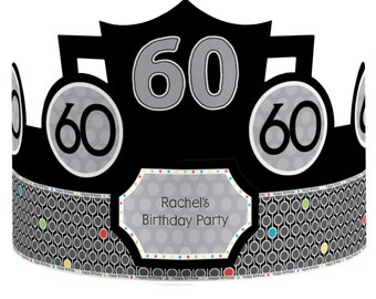 8 Custom Party Hats - Birthday Party Hats - 60th Birthday Party Supplies - 8 Count