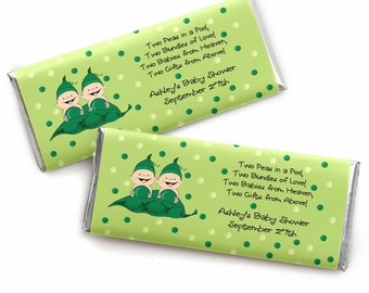 24 Two Peas In A Pod Custom Candy Bar Wrappers - Personalized Baby Shower and Birthday Party Favors