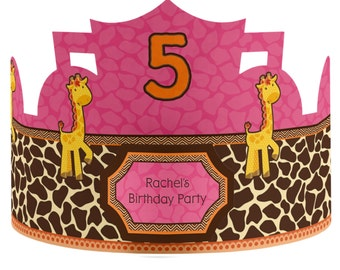 8 Custom Party Hats - Birthday Party Hats - Girl Giraffe Party Supplies - 8 Count