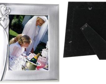 2-Tone Brushed/Shiny Silver Finish Hearts Photo Frame available in 4x6, 5x7, 8x10
