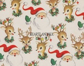Santa and Reindeer Vintage Christmas Paper Digital Image