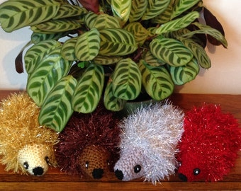 Sparkly Hedgehog Ornament. Knitted Tinsel Hedgehog