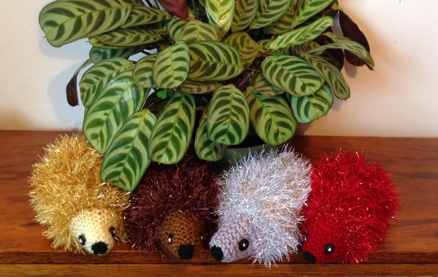 Sparkly Hedgehog Knitting Pattern : Sparkly Hedgehog Ornament. Knitted Tinsel Hedgehog