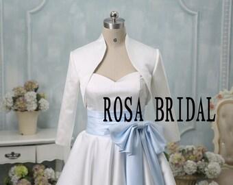 Bridal bolero jacket shrug, Wedding jacket 3/4 sleeves, Bridal satin Jacket Custom Color Size