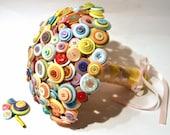 Pastel Button Bouquet / Candy coloured Bouquet / Alternative Wedding Flowers / Everlasting Bouquet