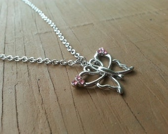 Pink Gem Butterfly Necklace