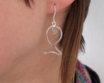 Silver Fish Earrings, Silver Earrings, Sterling Silver Fish Earrings,Silver Wire Earrings, Silver Fish Dangle Earrings