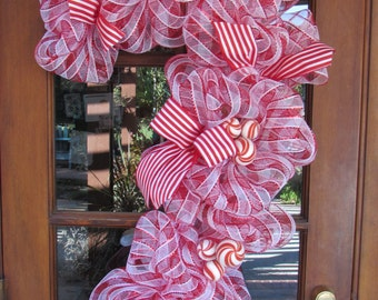 3' Candy Cane Wreath- Deco Mesh Candy Cane Wreath- Christmas Wreath- Christmas Decor- Red and White Wreath- Candy Wreath-