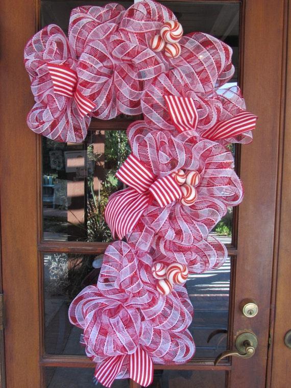 Candy Cane Shaped Mesh Wreaths Christmas Wikii