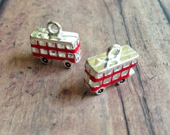 4 Double Decker Bus charms 3D enamel and silver tone - bus pendants, red double decker bus charms, London charms, British charms, LL8