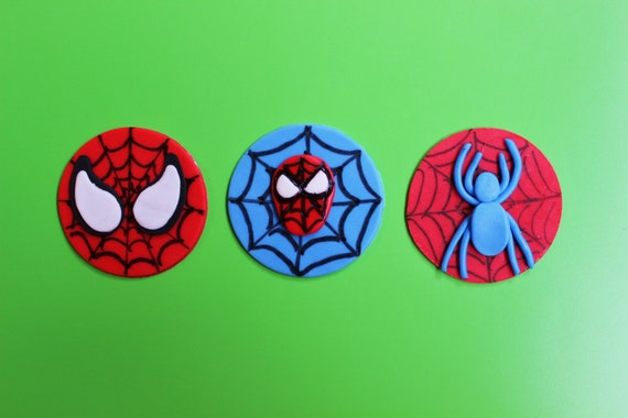 Fondant spiderman cupcake toppers - photo#10