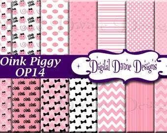 Oink Piggy Digital Scrapbooking  Paper Set - Instant Download