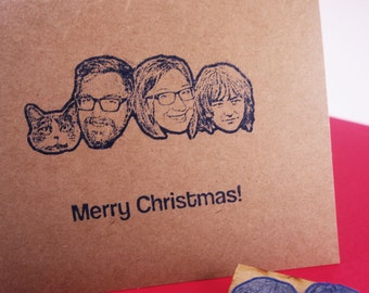 Custom face stamp Christmas Set - Custom Christmas Cards - Your family portrait on a stamp. Make your own DIY Christmas Cards - custom gift