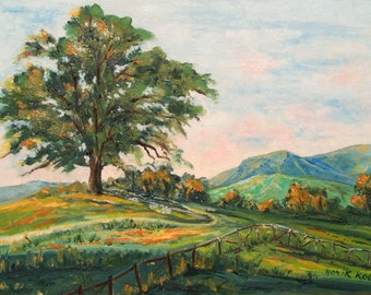 Oil Painting on canvas -  In the Countryside - Central California-Landscape-Tree  painting- Impressionism