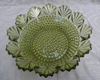 Wonderful Large Vintage Green Hobnail Bowl with Fanned Edges!