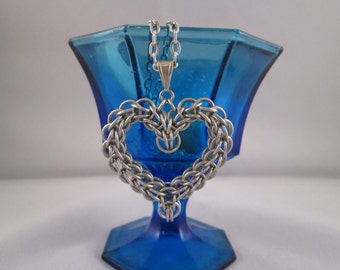 Dragon Heart, Handmade Chainmaille Heart Pendant, Full Persian Weave (No Chain)