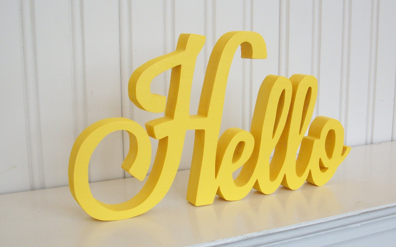 HELLO Wood Word Sign Handmade Wood Sign Yellow Painted