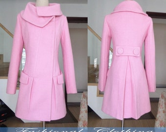 Pink wool coat | Etsy