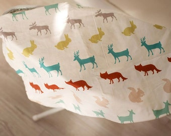Scandinavian Style Forest Animal Pattern Cotton Fabric