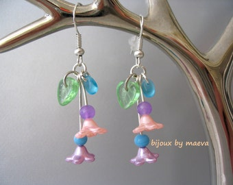 fancy earrings pendants small purple flowers, turquoise blue, peach and lime green
