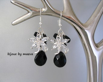 Costume jewelry earrings earrings black and transparent Dragonfly